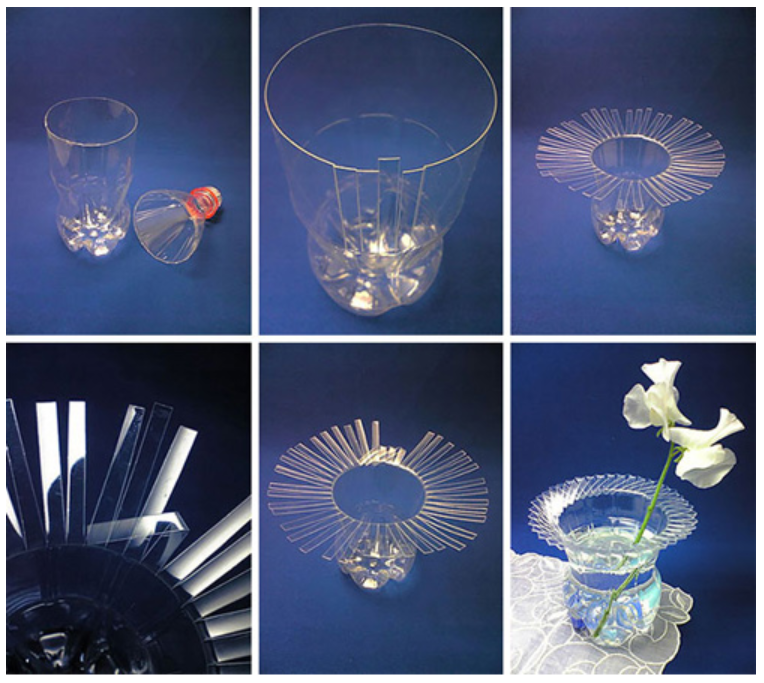 Đừng vứt bỏ những chai nước khoáng sau khi uống mà hãy tận dụng chúng thành những lọ hoa trang trí đáng yêu.