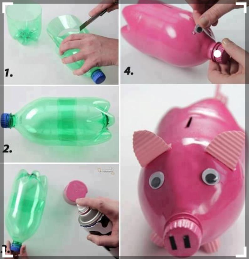 Một chú heo xinh xắn và ngộ nghĩnh được ra đời từ một chiếc chai nhựa đã cũ